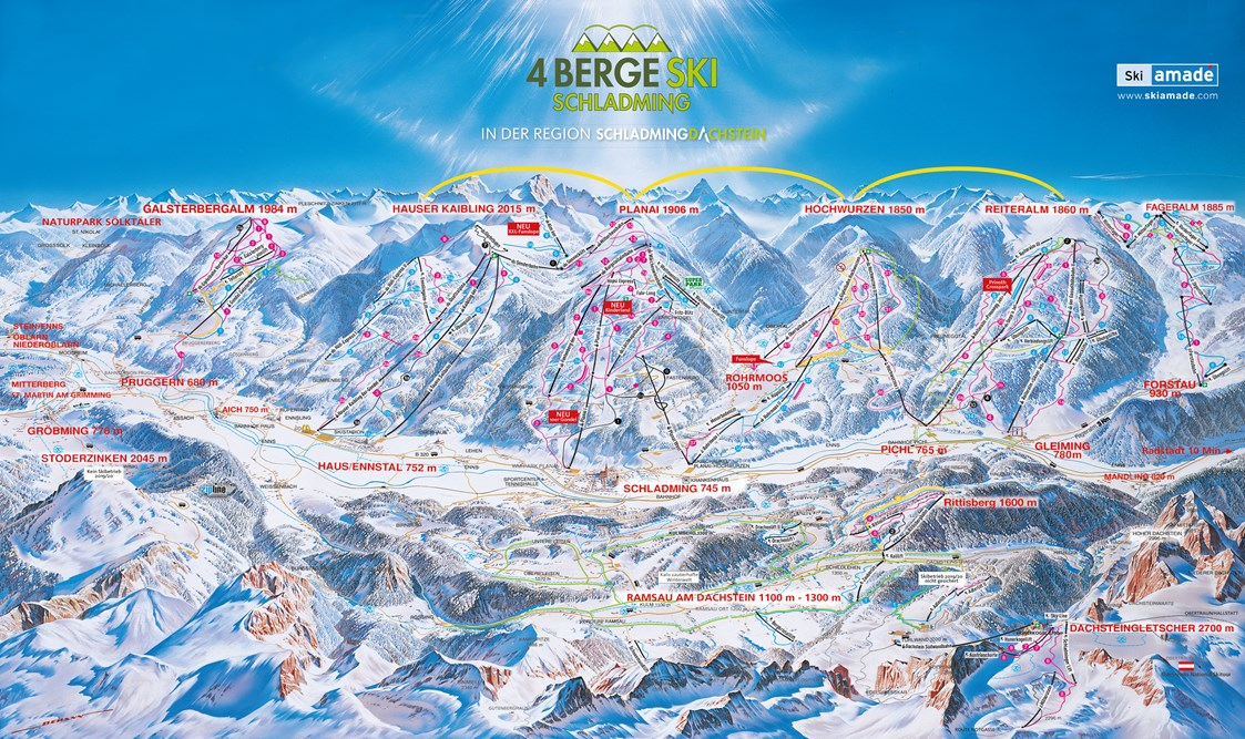 Skiregion: Pistenpanorama der Skiregion Schladming-Dachstein - Skiregion Schladming-Dachstein